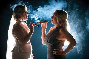 Bride and Bridesmaid Enjoying Cigars