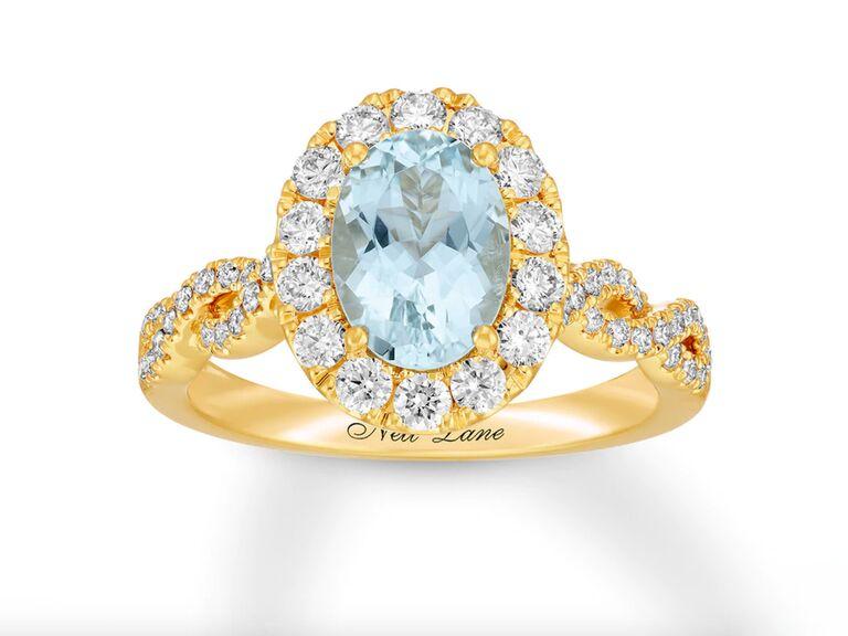 Kay aquamarine gold engagement ring in 14K yellow gold
