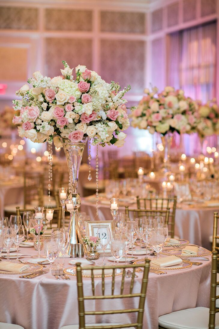 Tall Blush and Ivory Centerpieces with Jewels
