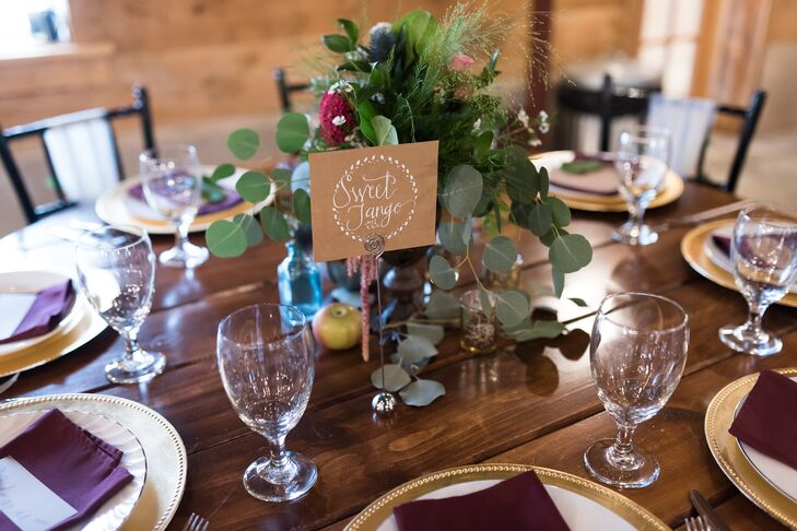 When you live in Minnesota (and your wedding has a vintage apple theme), it's only fitting to name your guests' tables after apple varieties. (The SweeTango was developed by the University of Minnesota.)