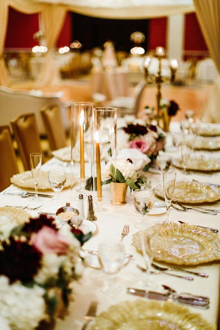 Modern Gilded Place Settings and Summery Centerpieces