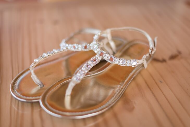 Jenn wore gold sandals accented with rhinestones for her casual mountaintop wedding.