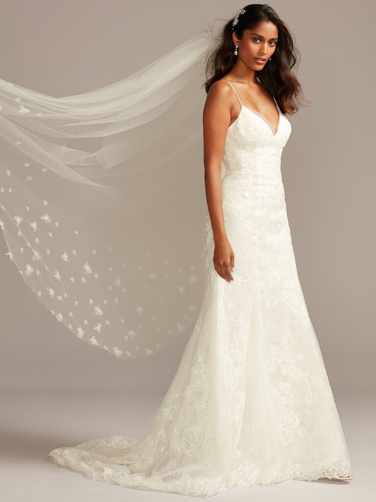David's Bridal A-line spaghetti strap wedding dress