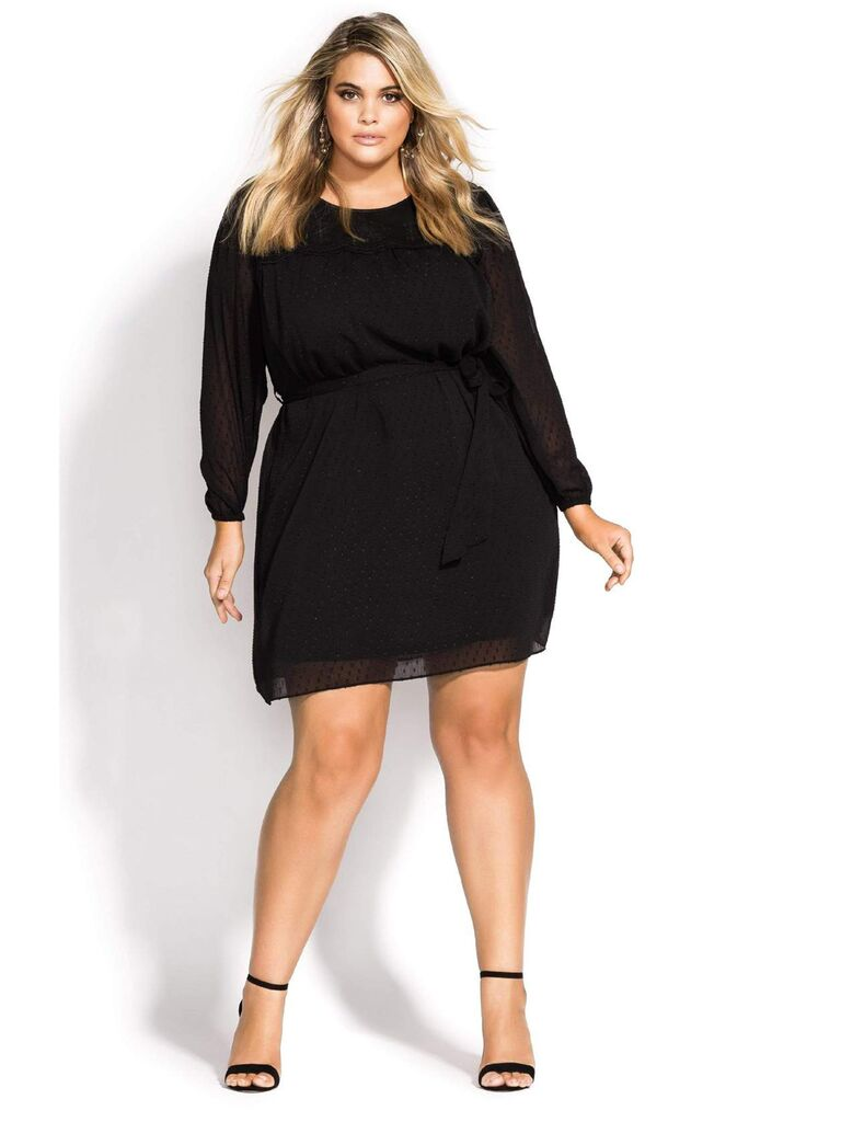 Black mini plus size dress with sheer Swiss dot overlay