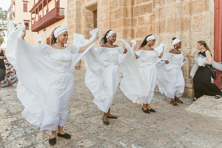 South American Wedding Celebration Dancers in Cartagena, Colombia
