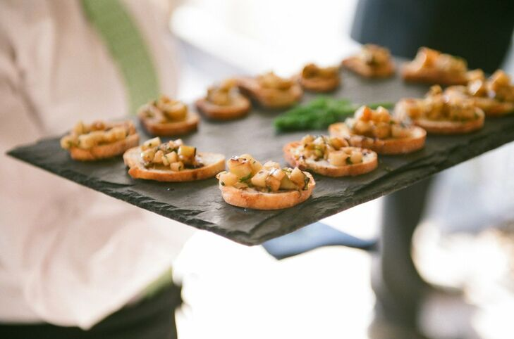 Rustic slate trays were used to serve up crostini appetizers during the celebration.