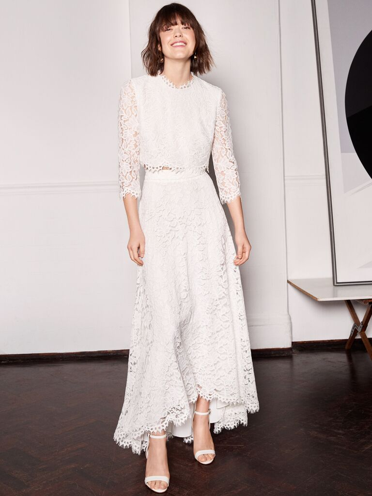 Whistles Wedding 2019 Bridal Collection lace high-low wedding skirt and long-sleeve top