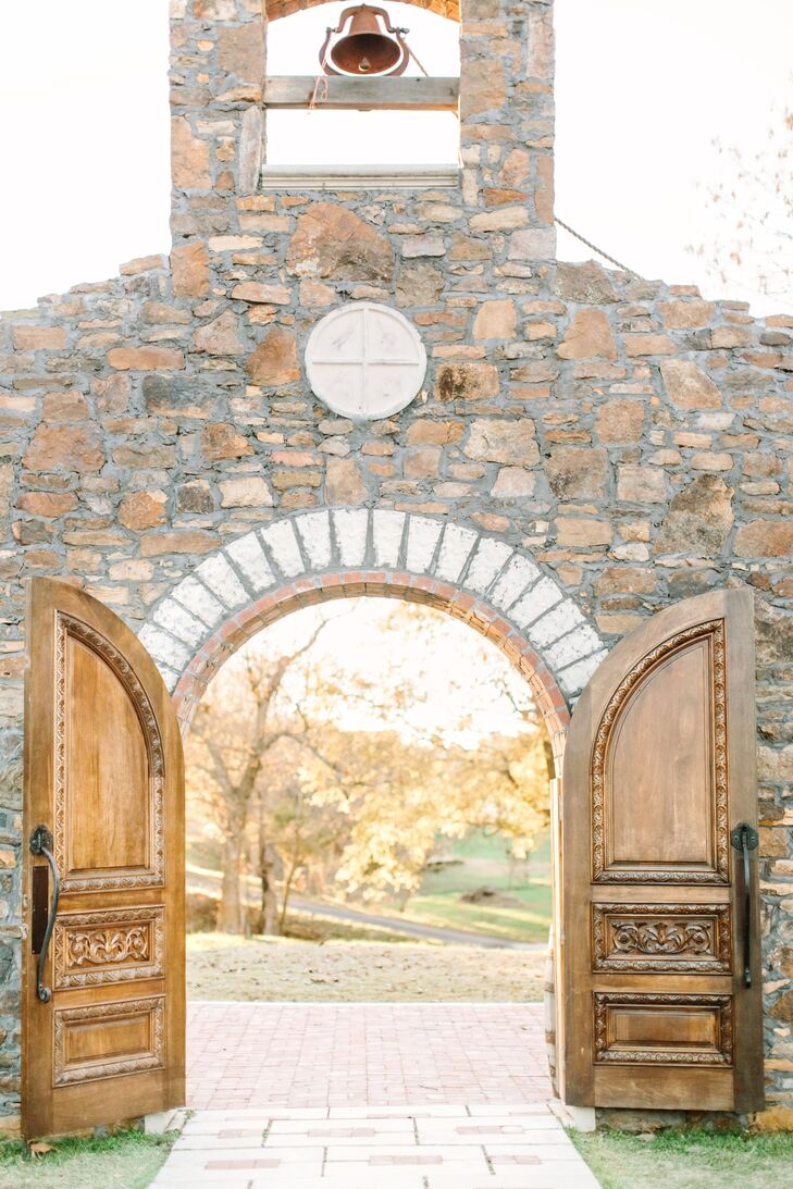"""We wanted a outdoor venue that was beautiful in and of itself, with little to no extra decor required,"" Lydia says. ""The moment we saw the Chapel at Sassafras Springs Vineyard, we knew this was where we were going to get married. The grounds were so peaceful and almost felt like a getaway."""