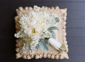 White Peony and Delphinium Bridal Bouquet