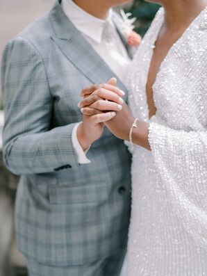Couple Holding Hands During Elopement at Anderson House in Washington, D.C.