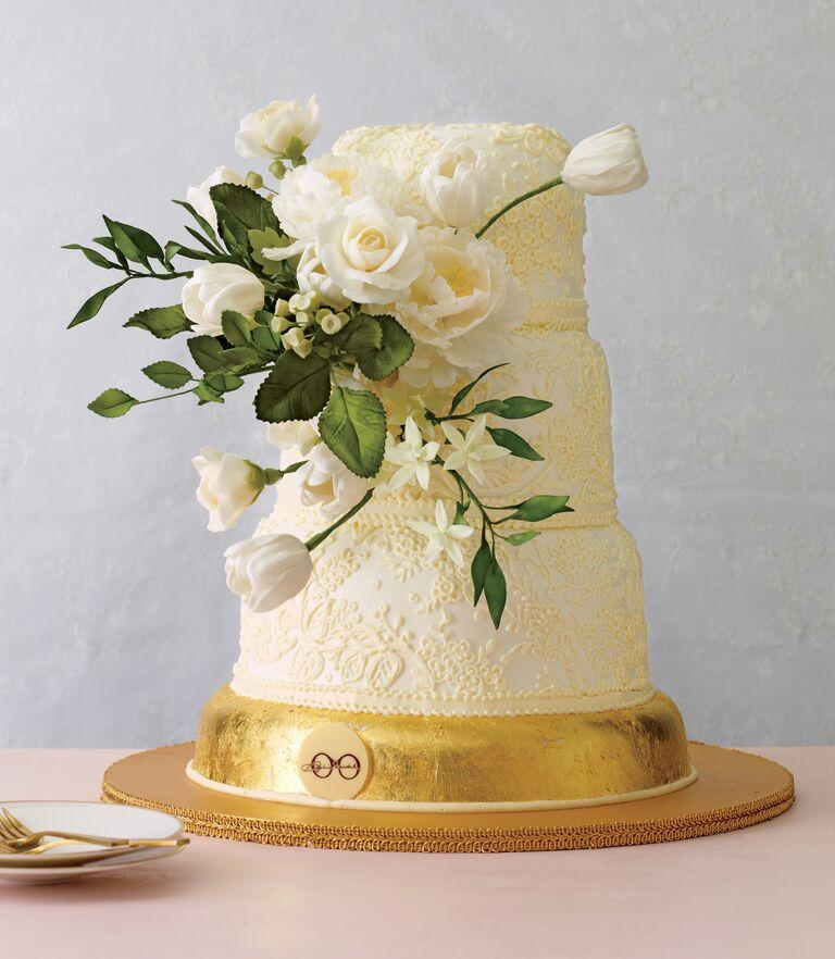 White and yellow simple three tier wedding cake