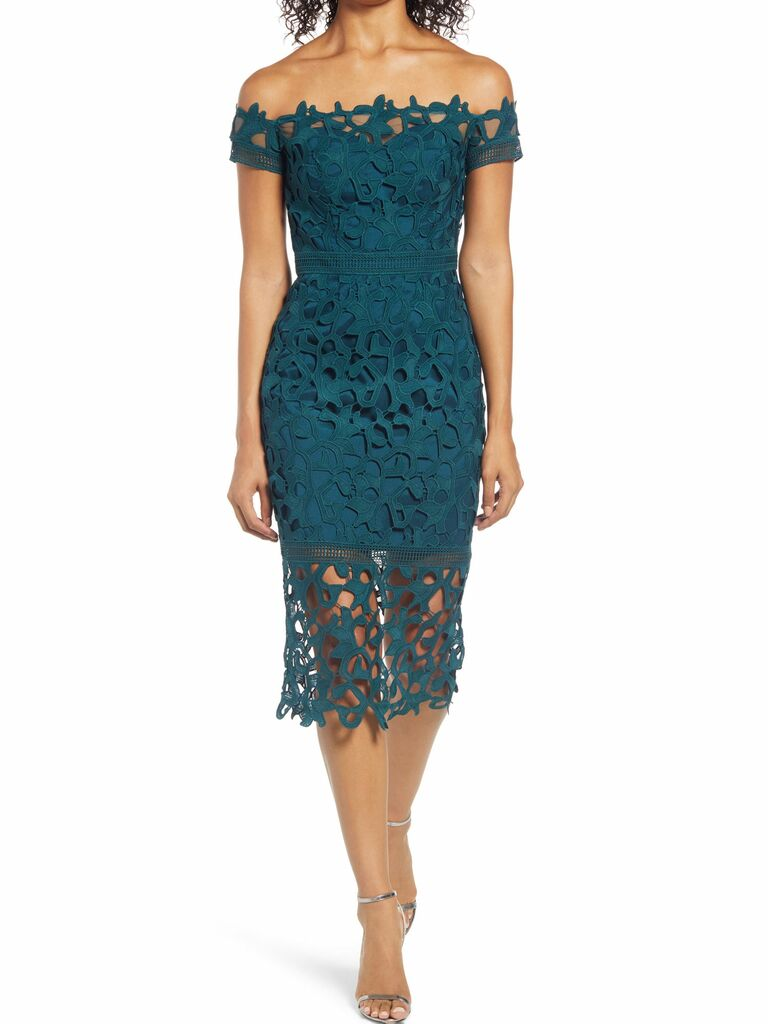emerald green lace midi dress with off the shoulder sleeves
