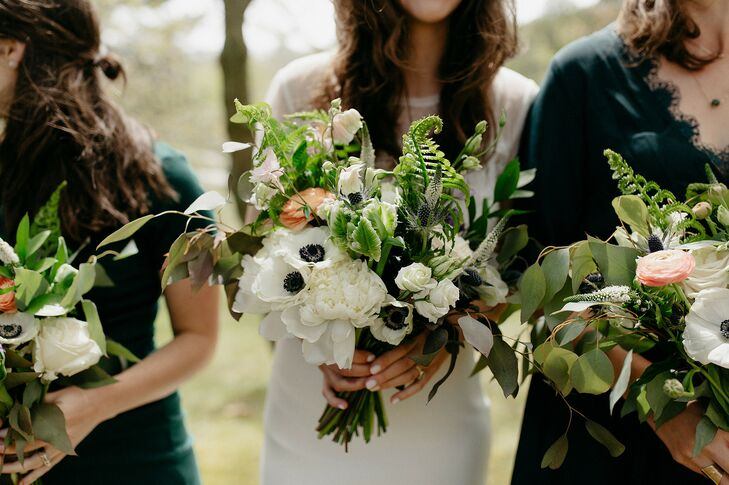 Simple Wedding Bouquet with Anemones