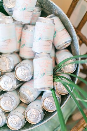 Personalized Beer Can Labels with Retro Nautical Watercolor Illustration