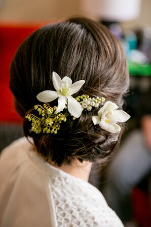 Elegant Updo With White Flowers
