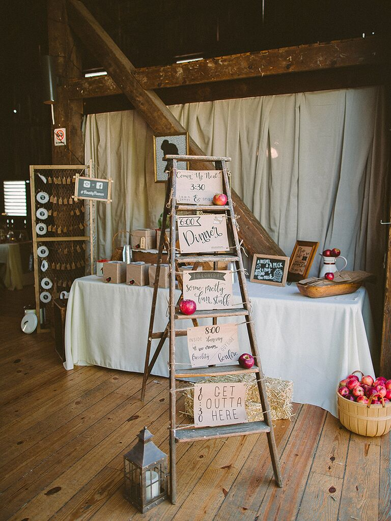 Vintage Rustic Barn Wedding Decor With A Ladder