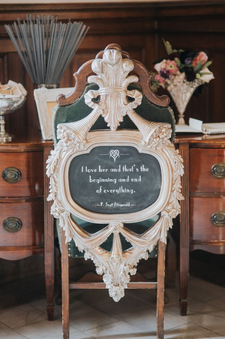 Lauren and Johnny brought their art deco-themed soiree to life with F. Scott Fitzgerald quotes.