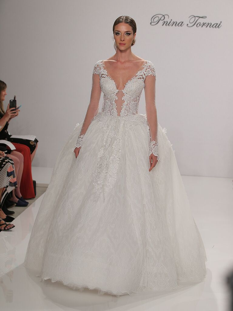 Pnina Tornai Fall 2017 Long Sleeve Wedding Dress With Embroidered Lace Skirt