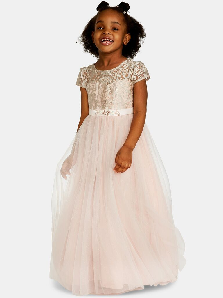 Rare Editions little girls embroidered bodice maxi dress