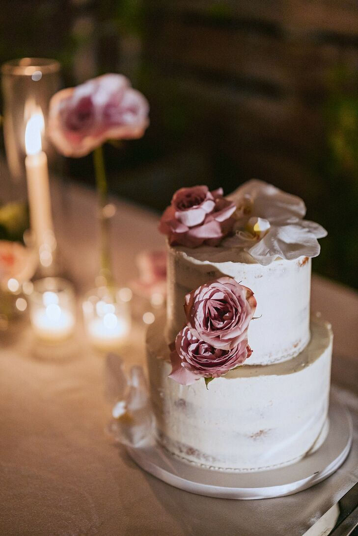 Two-Tier Cake with Purple Roses