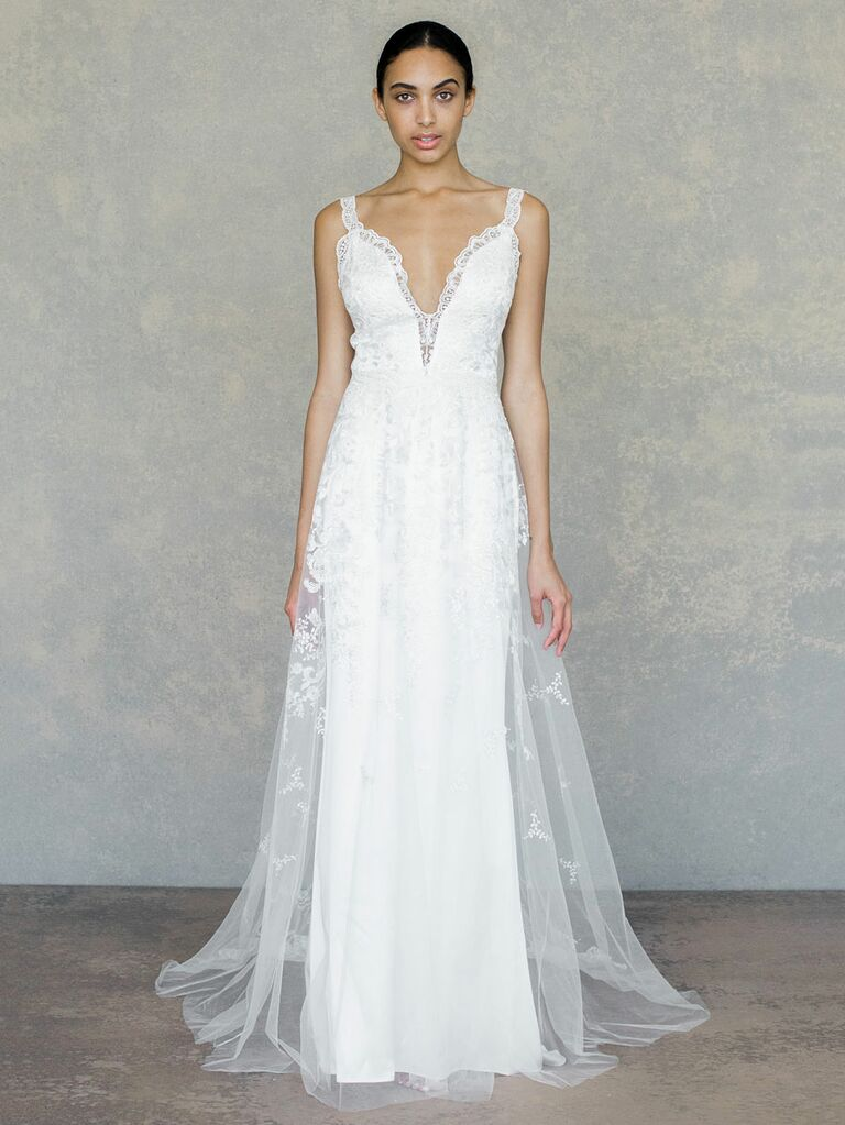 Claire Pettibone Spring 2019 embroidered lace wedding dress with lace straps