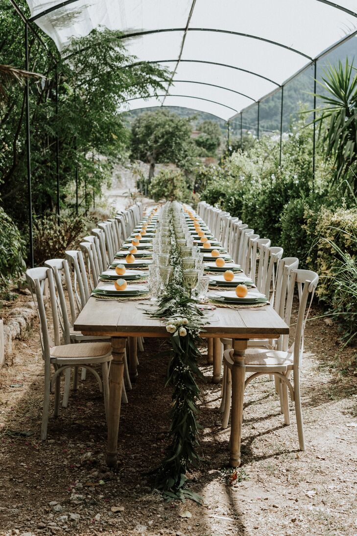 Intimate Garden Reception with Farm Table and Greenery