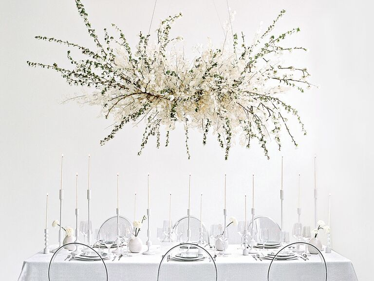 wedding reception table idea white modern