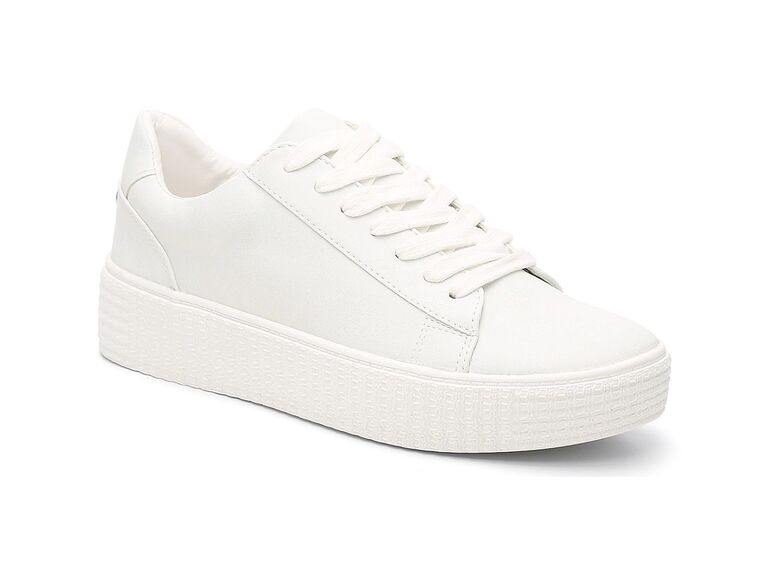 All-white platform sneakers