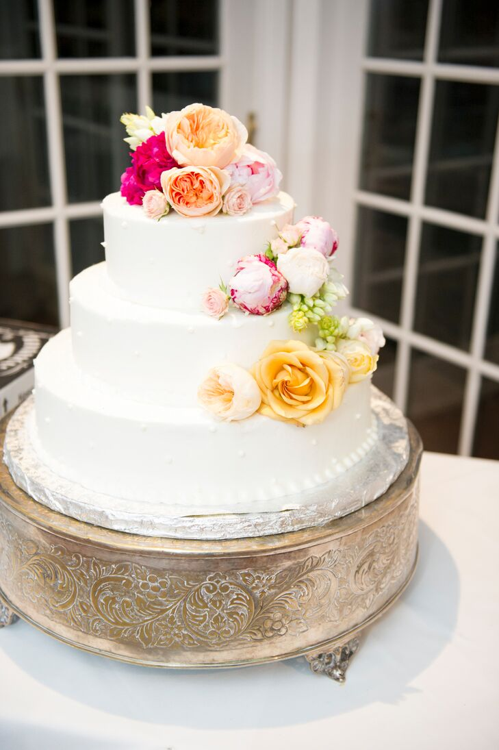 Buttercream Wedding Cake With Cascading Roses