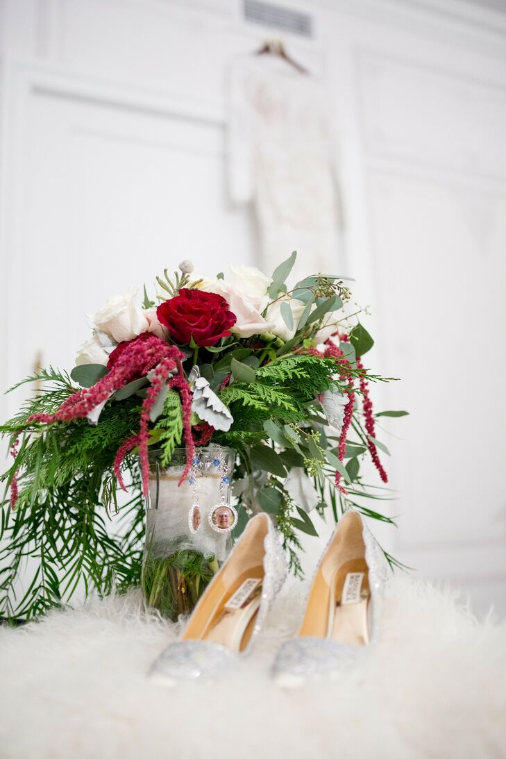 Winter Rose and Amaranthus Bouquet with Greenery and Grandparent Charms