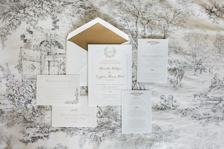 Alexandra and Thomas worked with Anticipate Invitations to create a custom invitation suite that captured the elegant, garden-inspired feel they were after. Gold letterpress script and classic ivory card stock gave the stationery a refined, traditional feel, while a custom floral motif infused the suite with a note of whimsy.