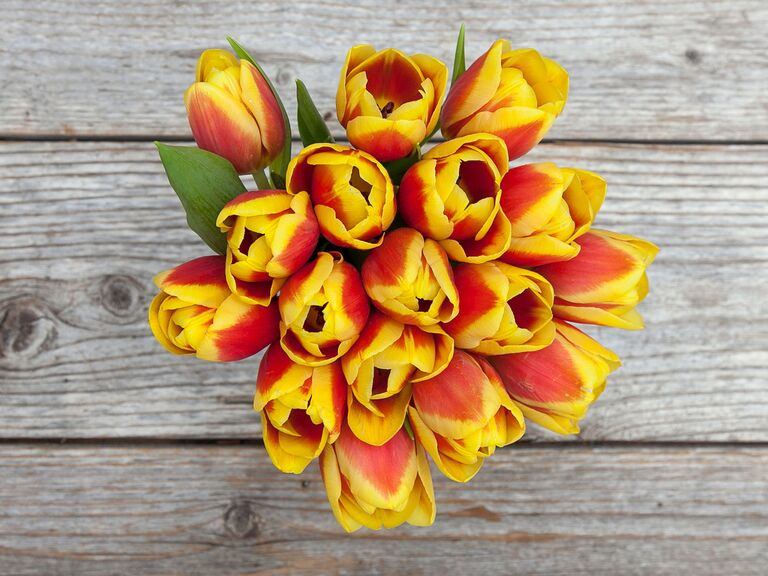The Bouqs Company orange and red tulip online flower delivery