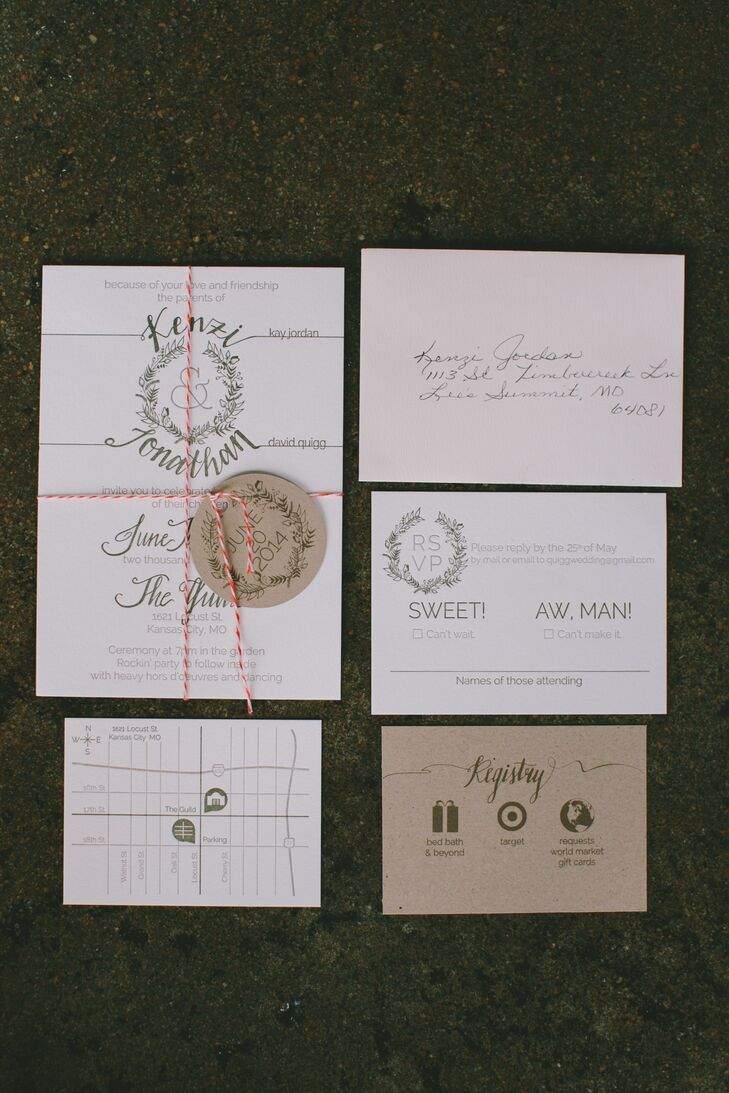 As a graphic designer, Kenzi took the wedding's stationery into her own hands and designed everything herself. To capture the wedding's whimsical, organic feel, she incorporated a wreath motif and hand-lettering throughout and looked to a palette of ivory and muted olive green.