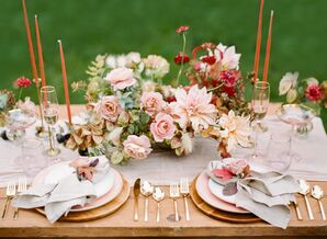 Romantic Centerpiece with Grasses, Fall Leaves, Peonies and Dahlias
