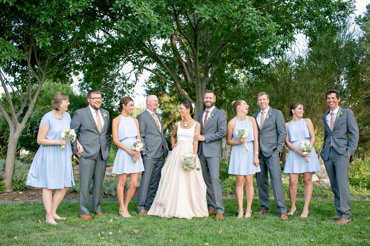 Layered Pale Blue Bridesmaid Dresses