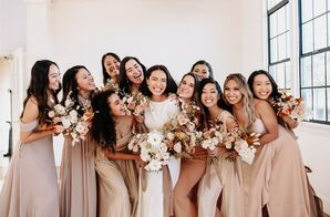 Bridesmaids at Modern and Minimal Wedding in San Diego, California