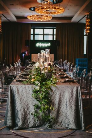 Slate Gray Table Linens with Greenery Garland