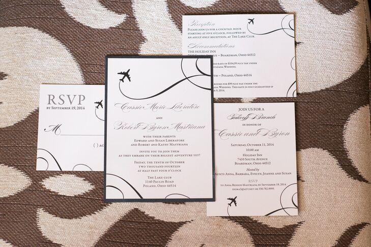 White Airplane Wedding Invitations