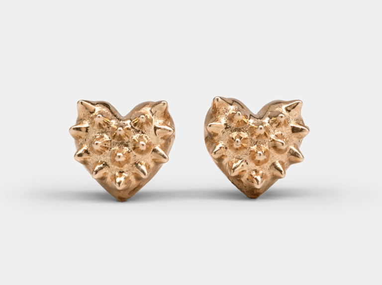 1. A chic, heart-shaped pair of earrings is the perfect way to tell your wife you love her after 13 years together.