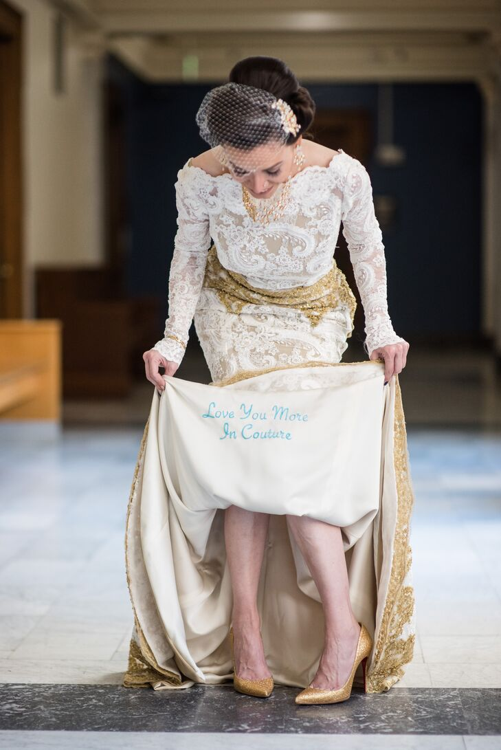 "A special blue embroidery on the interior of Jessica's custom gown read ""Love You More in Couture."""