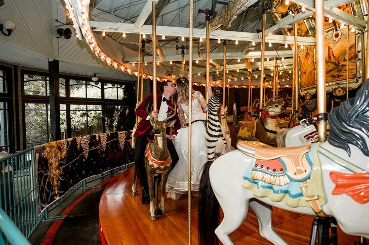 Modern Bride and Groom on Carousel
