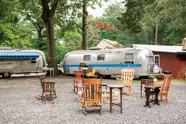 Cozy Reception Space with Airstreams and Wood Rocking Chairs