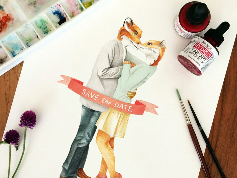 Fox save the date cards