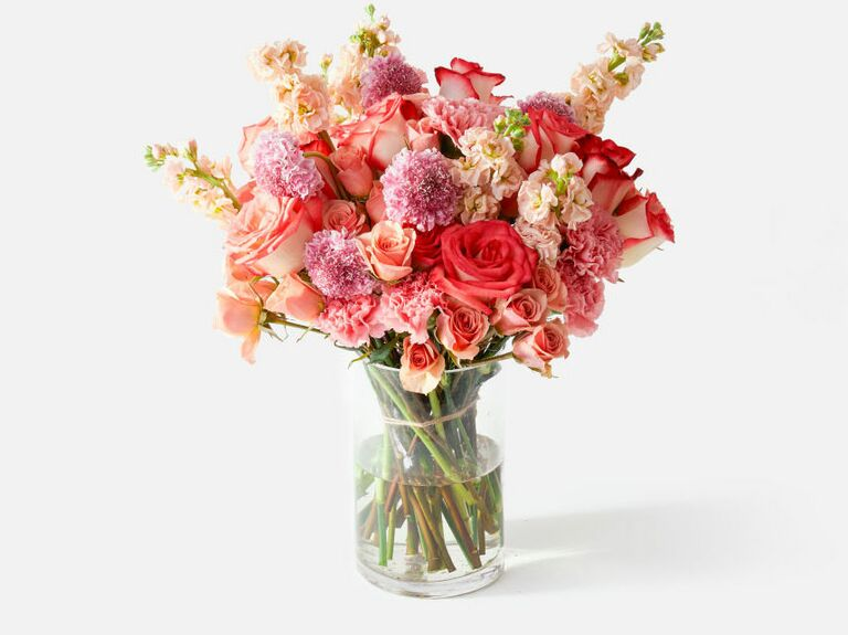 full bouquet of pink flowers