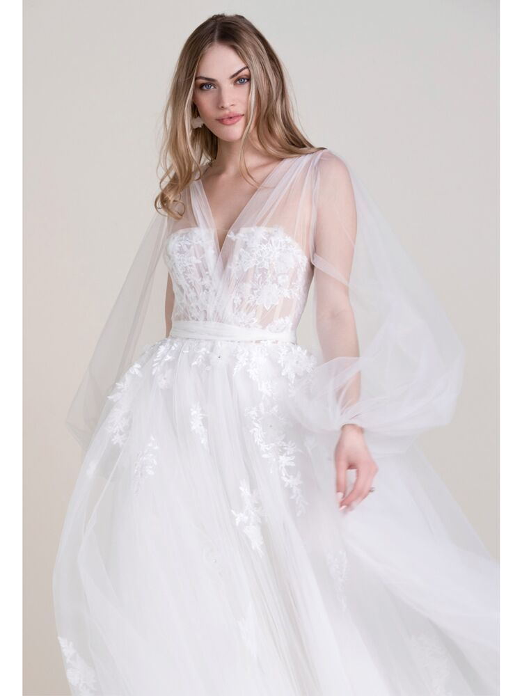 Wtoo A-line wedding dress with sheer tulle sleeves