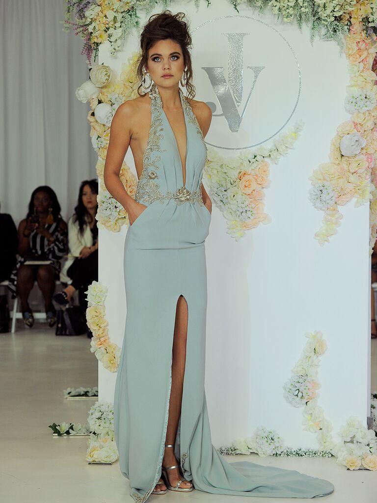 Julie Vino Fall 2018 light blue wedding dress with plunging neckline