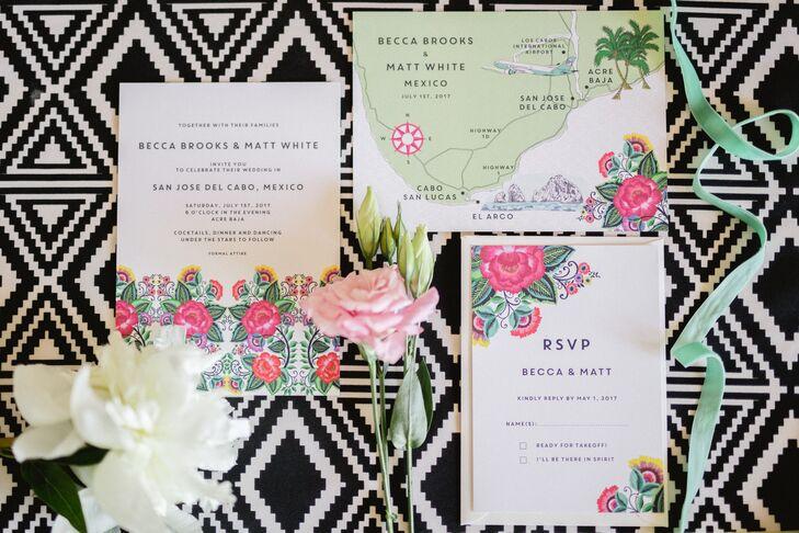 Bright Modern Floral Invitations