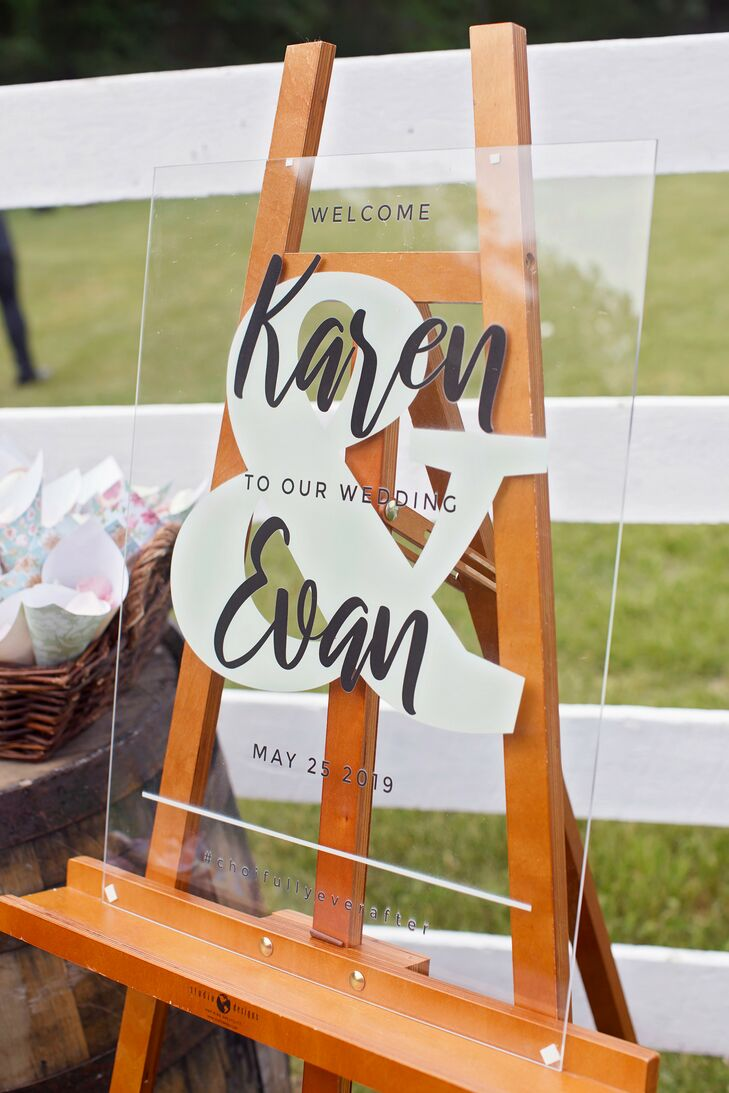 Lucite Welcome Sign for Wedding at Liberty Farms in New York