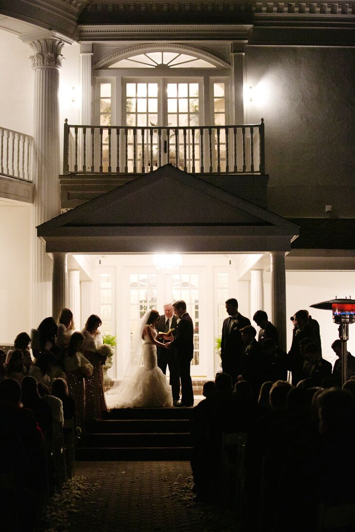 The couple exchanged their vows at night on Lone Star Mansion's front porch.