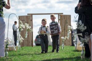 Ring Bearers with Funny Entrance Sign